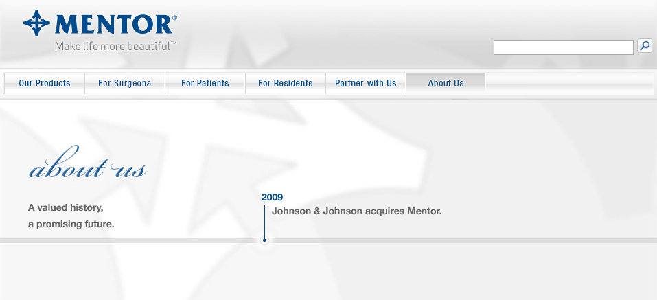 Mentor website lacking Johnson and Johnson Ethicon