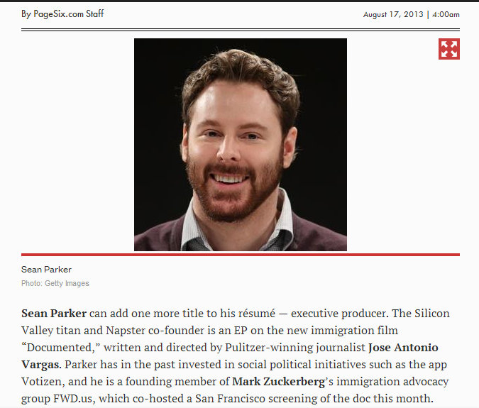 Sean Parker Executive Producer and Funder to Documented Jose Antonio Vargas Story