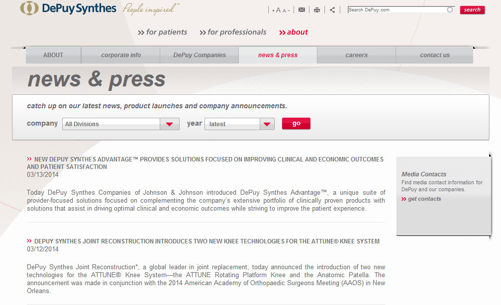 DePuy Synthes Website Lacking any Press Release