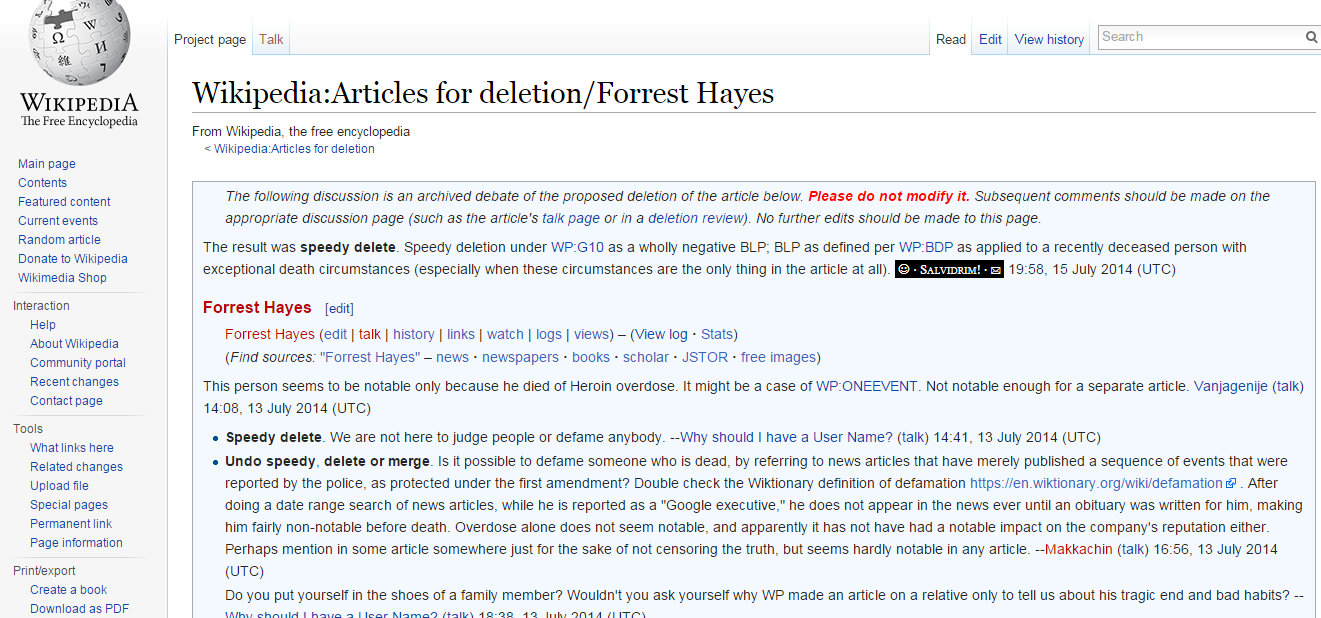 Deletion of Forrest Hayes Wiki page 1 25 2015