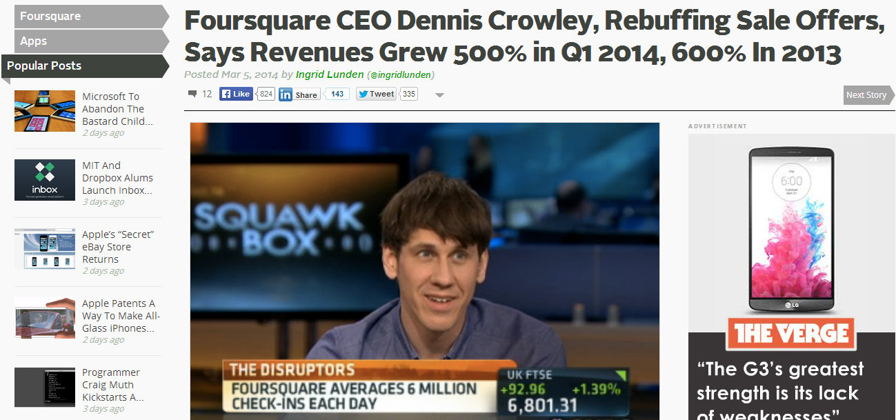 Dennis Crowley CEO FourSquare Rebuffing Sales Offers Tech Crunch