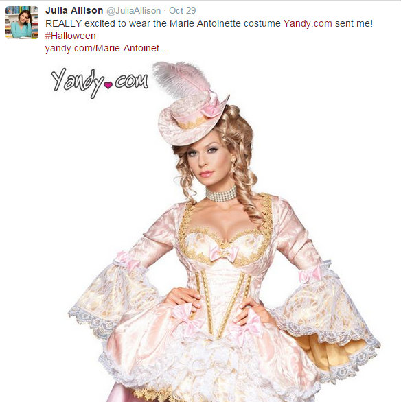 Julia Allison - Stating excited about wearing Yandy Marie Antoinette Costume october 29