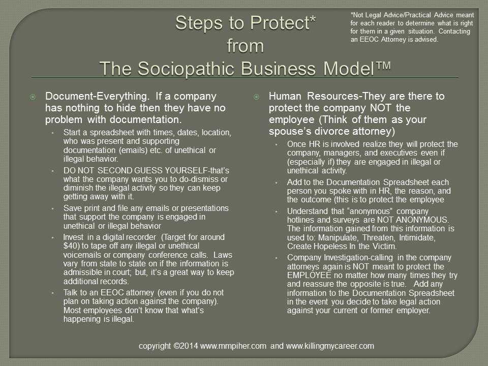 Steps to Protect From The Sociopathic Buisness Model™