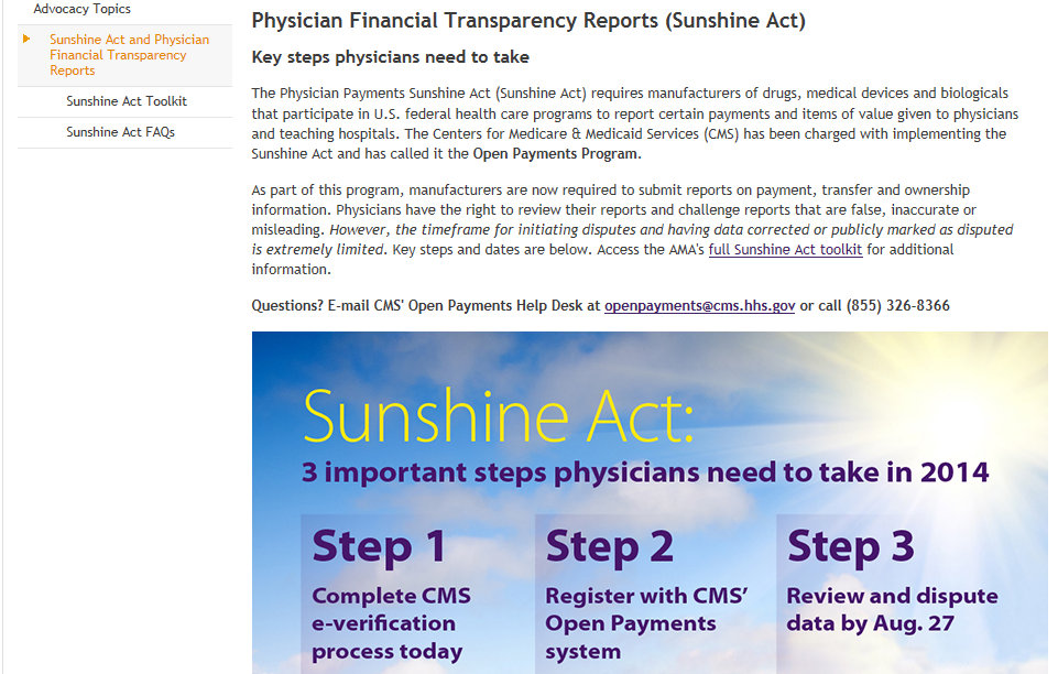 Sunshine Act and Dr. Brill Johnson & Johnson Ethicon Gynecare and the FDA