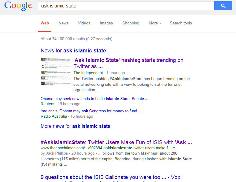 #AskIslamicState GoogleCensorship
