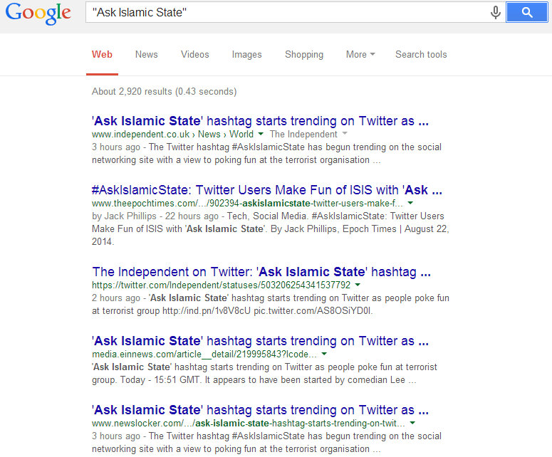 #AskIslamicState GoogleCensorship2
