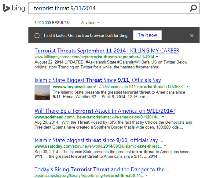 Bing Terrorist Threat 9 11 2014
