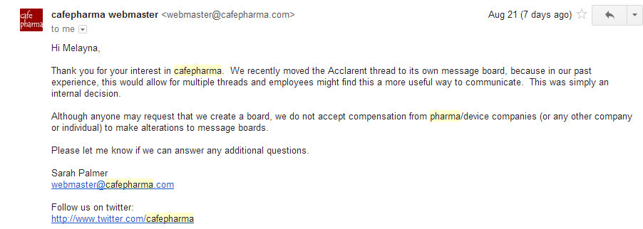 Cafepharma Response to moving Acclarent board out from under Ethicon