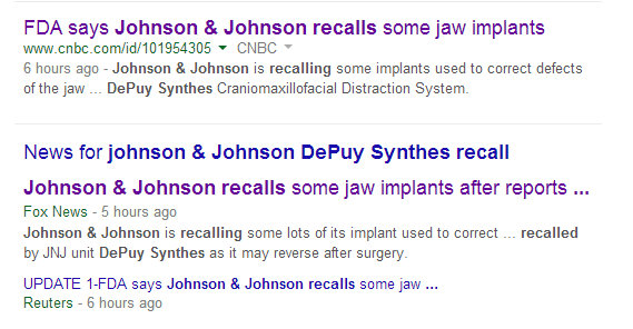 Fox, Reuters, CNBC cover Johnson & Johnson when FDA releases information