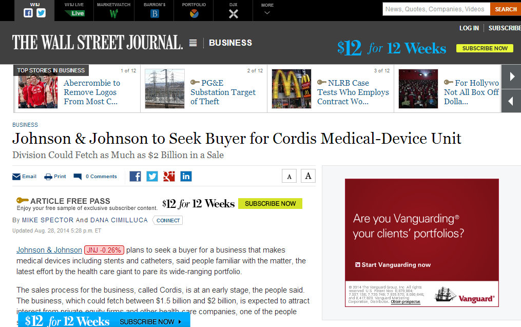 Johnson & Johnson Selling of Cordis and the source is The Wall Street Journal