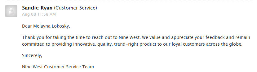 Nine West Response to Sexist Ad