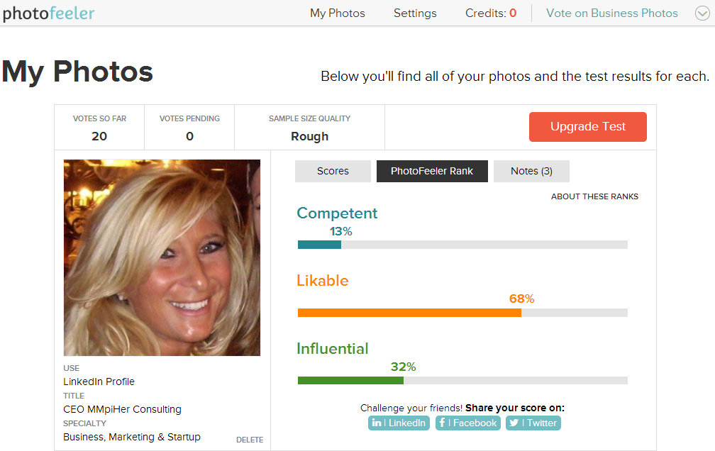PhotoFeeler End Results for LinkedIn 1
