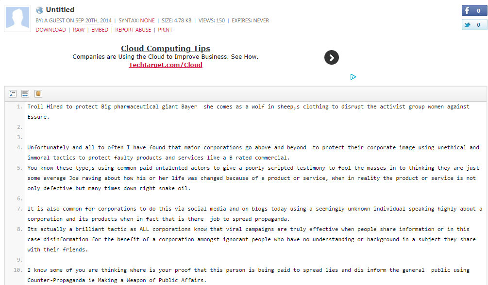 Troll Hired to protect Big pharmaceutical giant Bayer she comes as a wolf in sh - Pastebin.com - Google Chrome 9212014 121130 AM