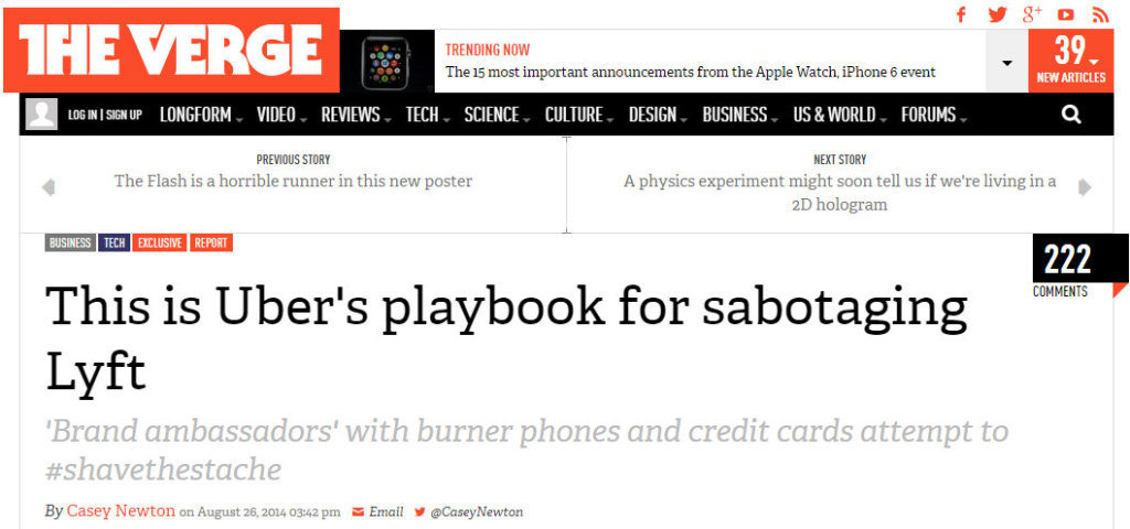 Verge Gawker Uber playbook for sabotaging Lyft