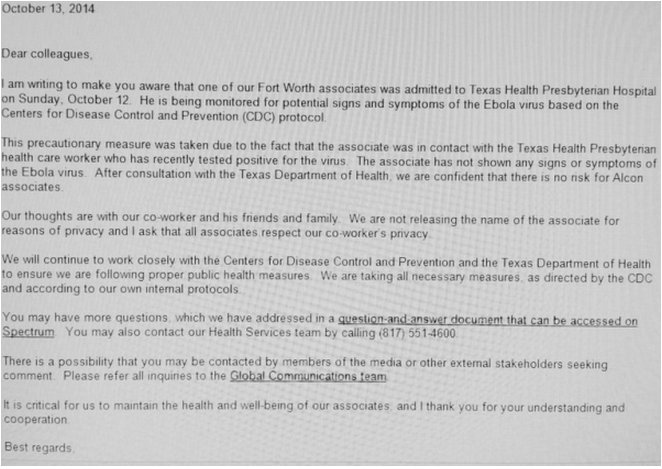 Alcon employee potential symptoms of Ebola Texas Health Presbyterian Hospital