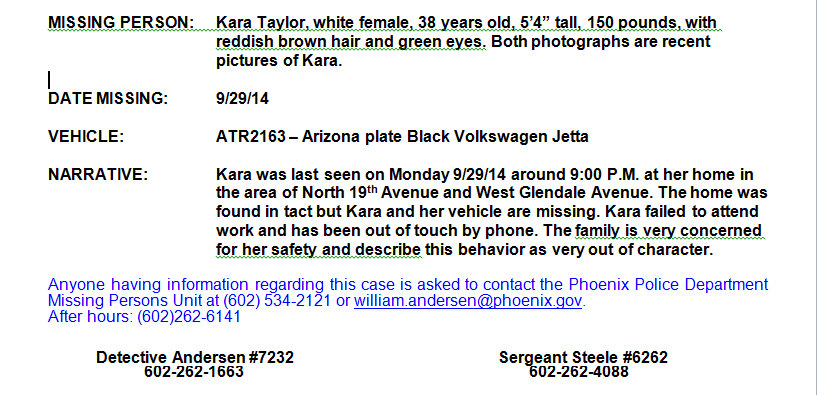 Missing Person Phoenix Kara Taylor 2