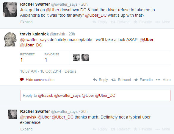Uber CEO Travis Kalanick responds to complaint on Twitter