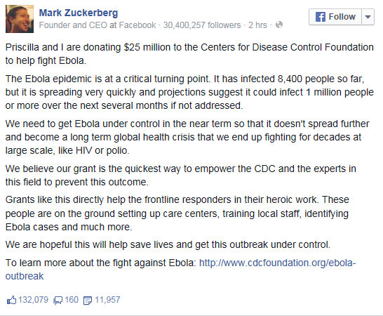 Zuckerberg on Facebook announcing $25M donation