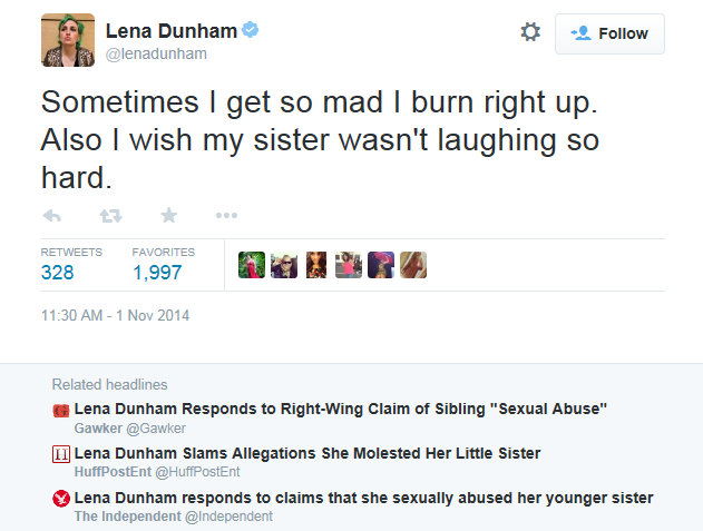 Lena Dunham Lack of Shame Remorse or Guilt over abusing sister