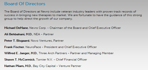 Nevro Corp Board Of Directors 11 6 2014