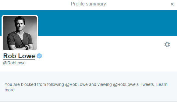 Twitter Blocked by Rob Lowe-Best Day Ever Killing My Career