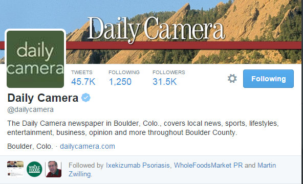 Whole Foods PR follows Daily Camera on Twitter 12 27 2014