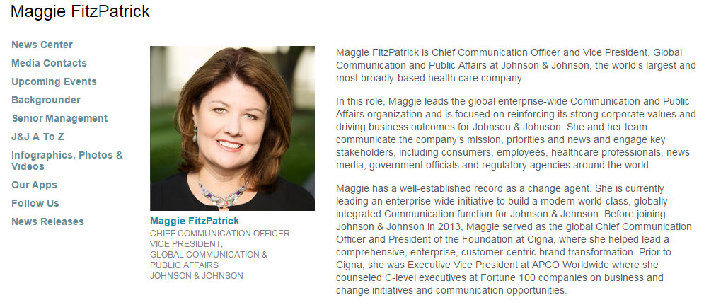 Chief Communications At JNJ