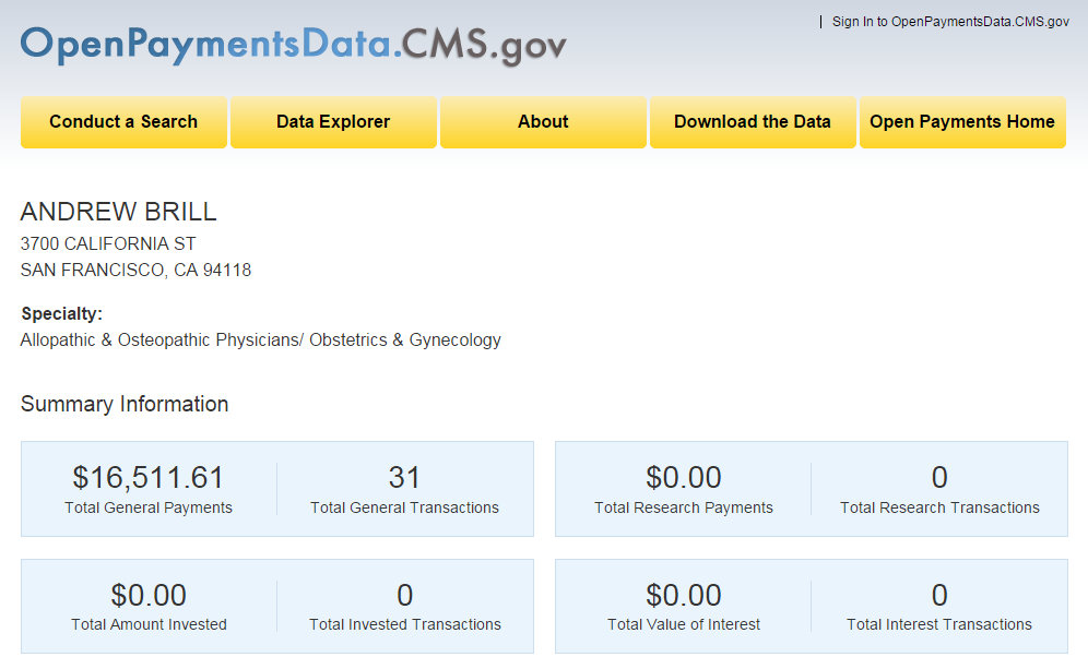 Dr. Andrew Brill CMS Payments