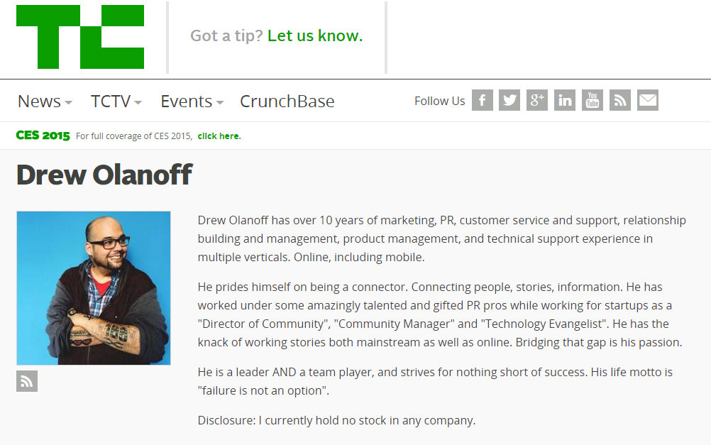 Drew Olanoff Director of Global Communication at TechCrunch
