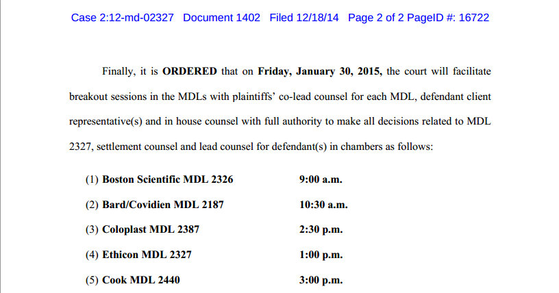 Judge Goodwin ORDERED Mesh cases to settlement talks 2