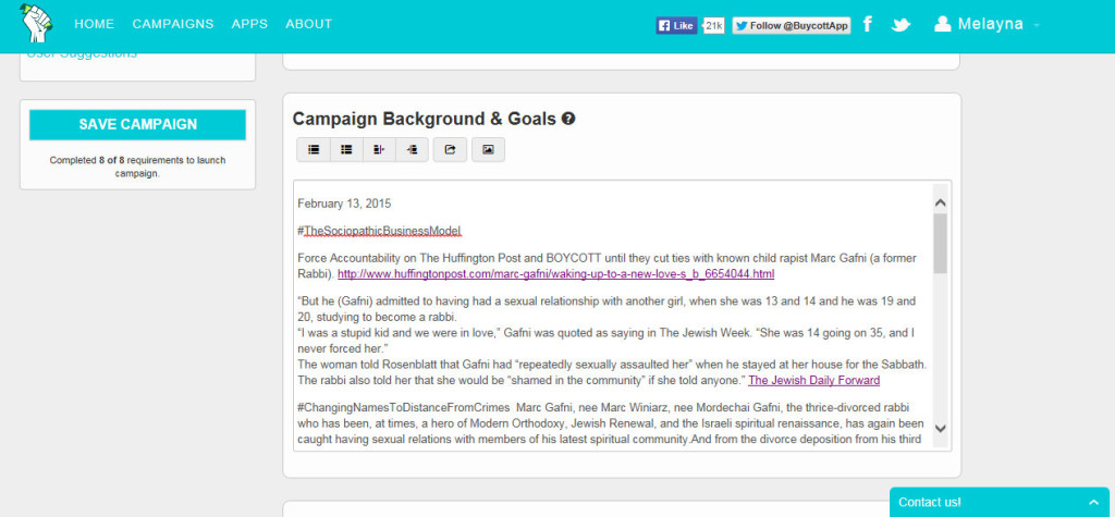 Is Buycott censoring a campaign about Huffington Post that links them to a known child rapist