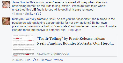 Response to Nathalie Shiell's defense of Alexis Martin Neely & Associates
