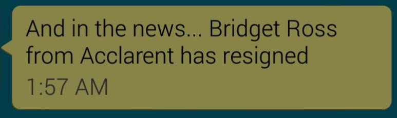 Bridget Ross Resigns