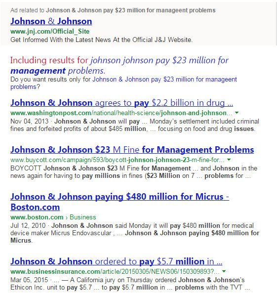 Johnson & Johnson $23 Million fine for management problems caching on bing