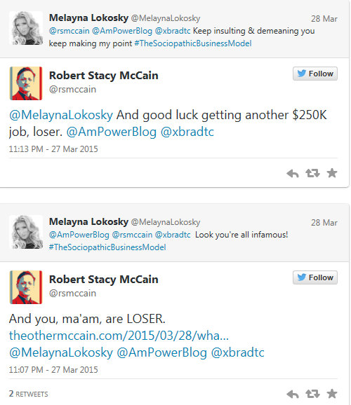 Robert Stacy McCain resorts to tactics out of #TheSociopathicBusinessModel Insult & Demean