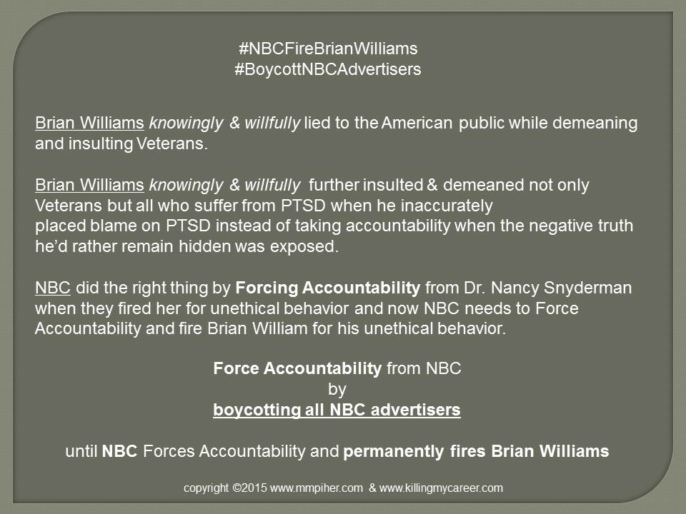 The Sociopathic Business Model™ Brian Williams Forced Accountability