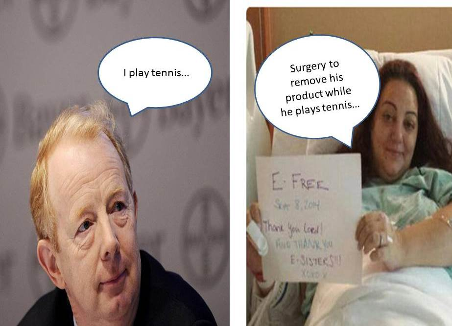 Bayer CEO Plays Tennis while Bayer Essure Victims Has Surgery