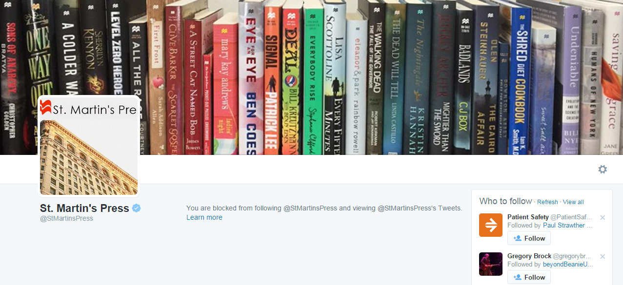 Blocked from St. Martin's Press Over Questioning Rewarding Unethical with a Book Deal