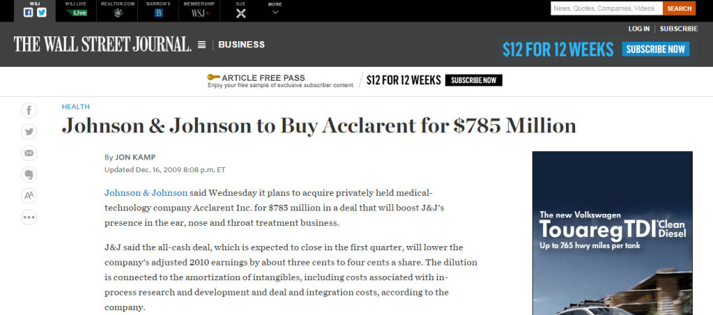 Wall Street Jounral Announces Johnson & Johnson Ethicon Buy Acclarent December 2009