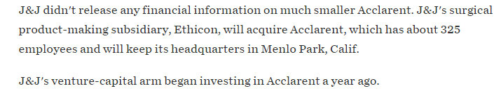 Why is Johnson & Johnson Ethicon trying to distance from Acclarent when they funded the startup