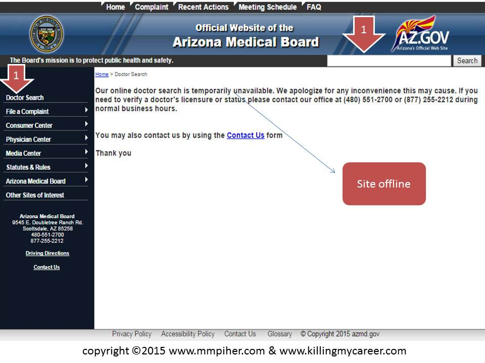 Arizona Medical Board Doctors Search Offline 5 30 2015 Killing My Career Slide 1