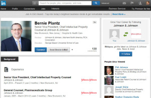 Bernie Plantz Senior Vice President Chief Intellectual Property Consel at Johnson & Johnson
