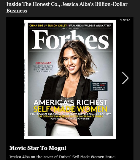 Jessia Alba on the cover of Forbes for The Honest Company which should be boycotted until she pulls product from Whole Foods