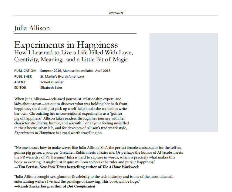 Julia Allison Memoir Experiments in Happiness