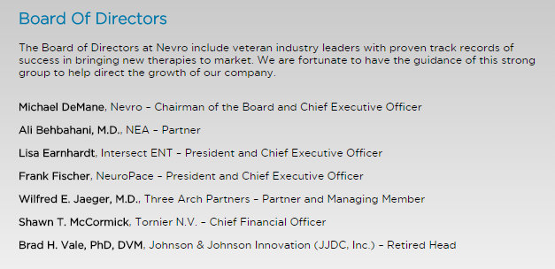 Nevro Board of directors July 1 2015