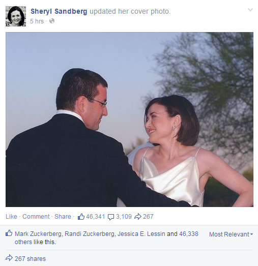Sheryl Sandberg Posting Picture of She and Recently passes husband on Facebook