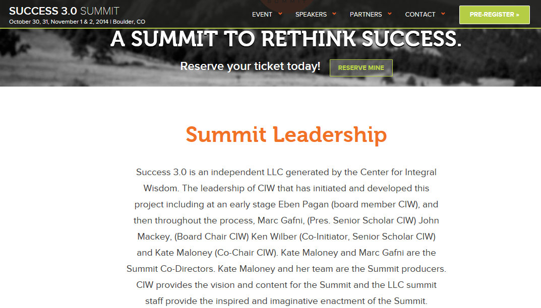 Success 3.0 Summit Leadership Marc Gafni Whole Foods & The Honest Company