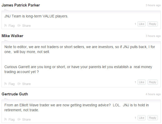 JNJ investors insult & demean writer of MarketWatch piece