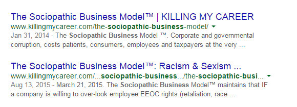 The Sociopathic Business Model™ organically cached on Google's first page.