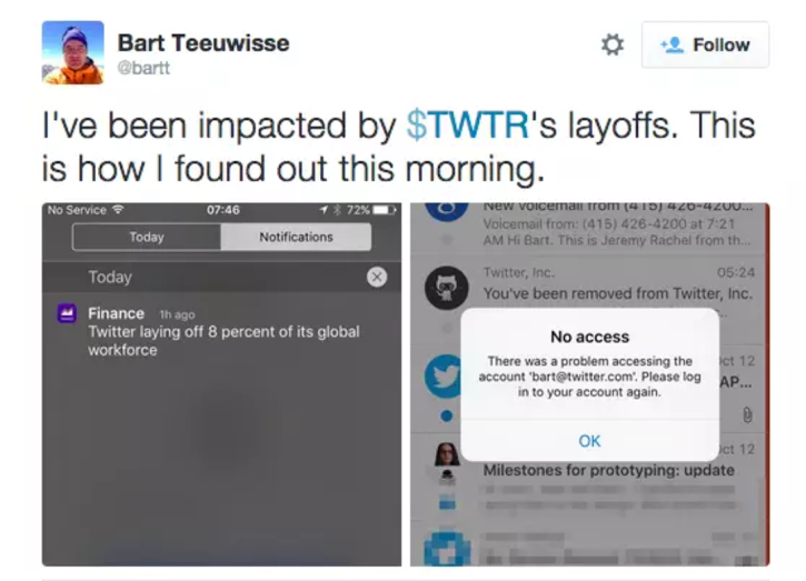 Bart Teeuwisse received the ultimate Twitter block from his employer: Twitter $TWTR